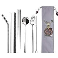 カトラリーセット 8本/セットポータブル食器セットの食器は、布バッグ台所用品セットで304ステンレス鋼トラベルカトラリーセットを設定します。 食器セット (Color : A1, サイズ : 8pcs a set)