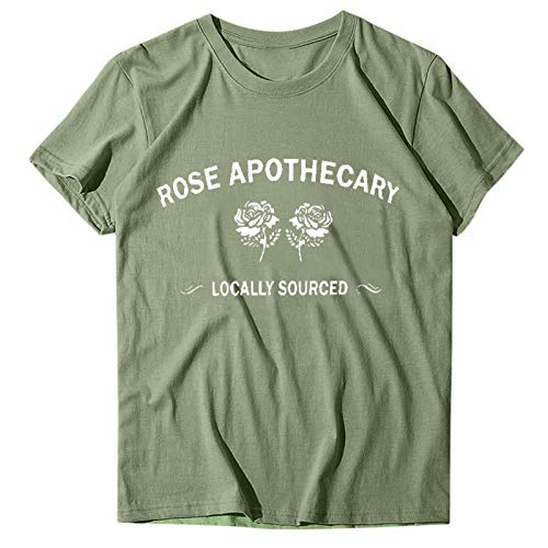 BUKINIE Rose Apothecary Shirts for Women Cute Funny Letter Printed Graphic Tshirts Casual Short Sleeve Saying Tee Tops(Green,Medium)