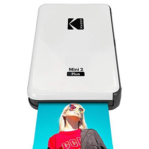 """Kodak Mini 2 Plus Portable Wireless Photo Printer, Print iOS & Android Social Media Photos via Bluetooth, Real Photo (2.1"""" x 3.4""""), 4Pass Technology & Laminating Process, Premiun Quality – White"""