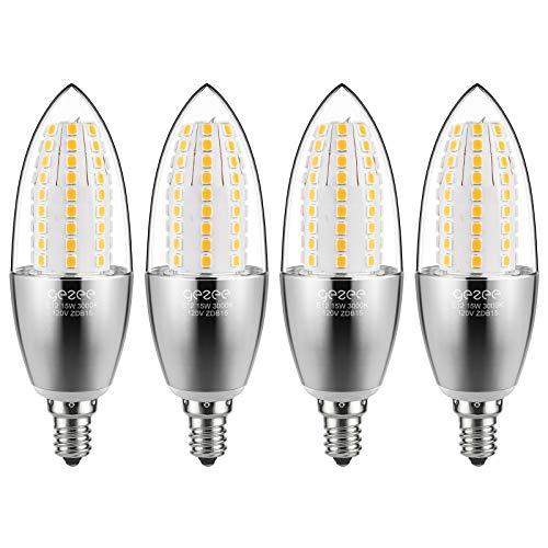 GEZEE LED Candelabra Bulb, Non-Dimmable 120Watt Light Bulbs Equivalent, 15W LED Candle Bulbs,Warm White 3000K Chandelier Bulbs, 4.3in, E12 Candelabra Base, 120V, 1500Lumens, Torpedo Shape(4 Pack)