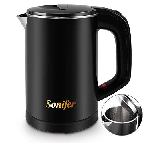 Sonifer 0,6l Edelstahl Camping Reisewasserkocher Kabellos Wasserkocher Doppelwand-Design Teekessel Teekocher 600W Leise Heizung Energiesparend…