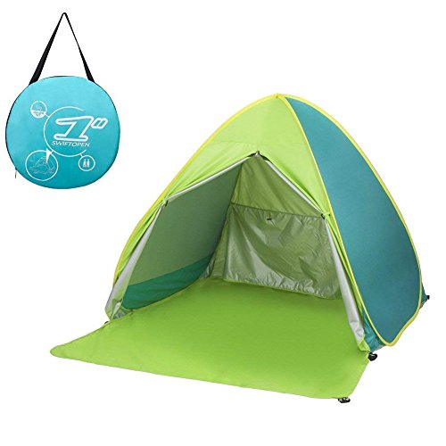 サンシェードテント moonwind ワンタッチテント 2-3人用 UPF50 カーテン付き 超軽量 通気性抜群 ビーチ ブール アウトドア・運動会に最適 撥水加工 紫外線防止 キャリーバッグ付き (グリーン)