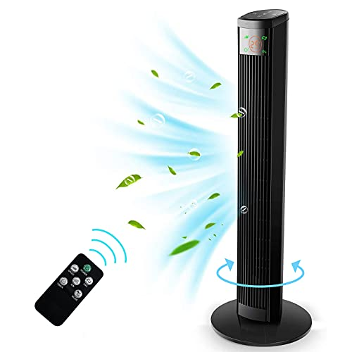 Ventilador de Torre con Control Remoto - 96 cm Ventilador Vertical con 4 Velocidades y 3 Modos de Viento, Pantalla LED & Panel Táctil, Temporizador 12 H, Oscilante 60°, silencioso, 45W, Negro