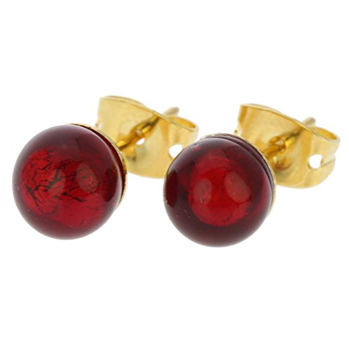 GlassOfVenice damskie Murano małe kolczyki sztyfty - rubinowe czerwone