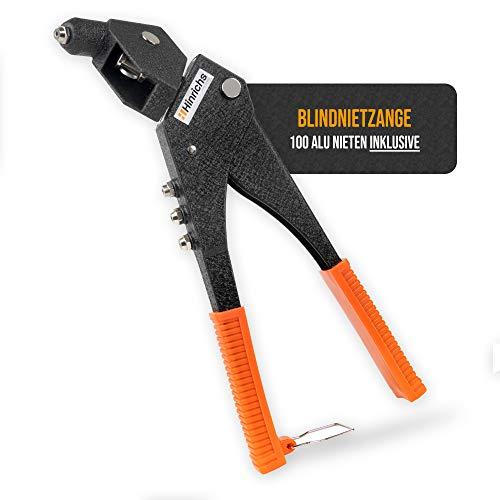 Hinrichs Remachadora Manual con 100 Remaches de Aluminio - Remachadora de con Cabezal Giratorio - Pistola Remachadora con Cúter
