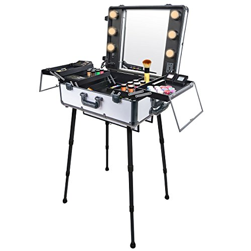 SHANY Studio ToGo Wheeled Trolley Makeup Case & Organizer with Light - Off White