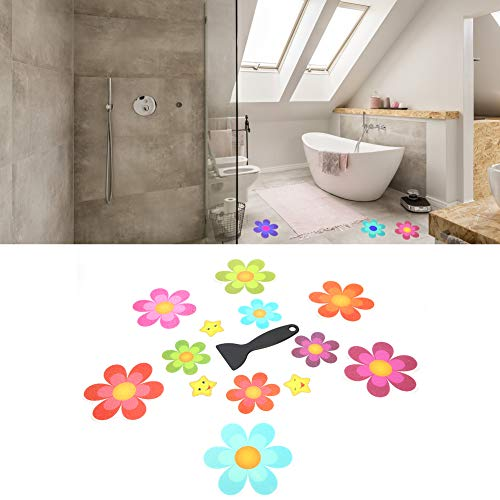 Pegatinas de bañera antideslizantes, almohadillas antideslizantes en forma de almohadillas con forma de flor para el baño Tiras...