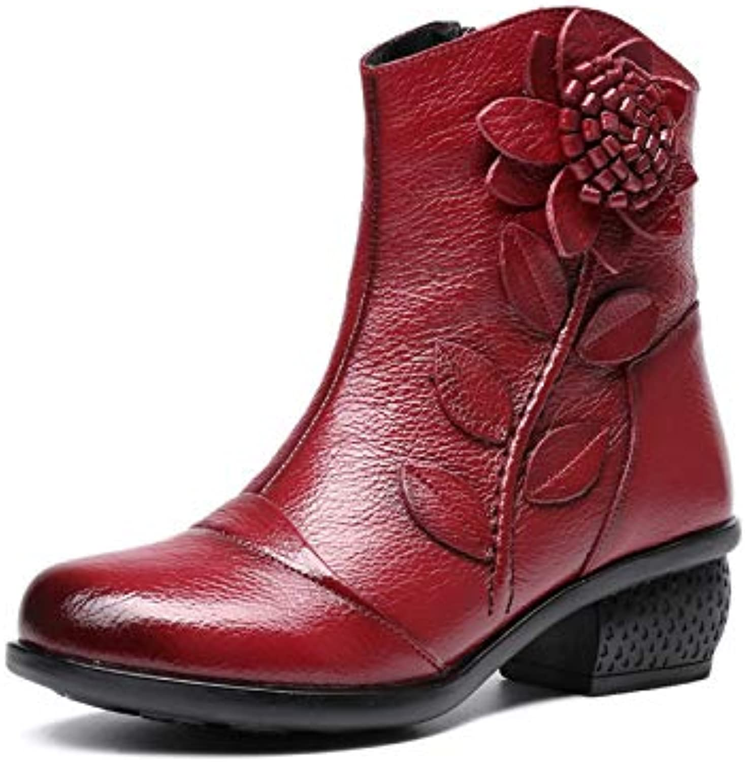 Leather Women Ankle Boots Zipper Leather Flower Block shoes (color   Red, Size   CA 6)