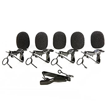 Movo MCW5 Lavalier Microphone Lapel Mic Clips and Foam Microphone Covers - 5 Replacement Pack for 6-7mm Mics