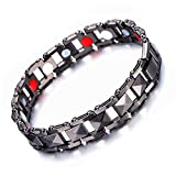 Magnetic Therapy Bracelet for Men, Stainless Steel Men's Jewelry with Four Therapy Elements
