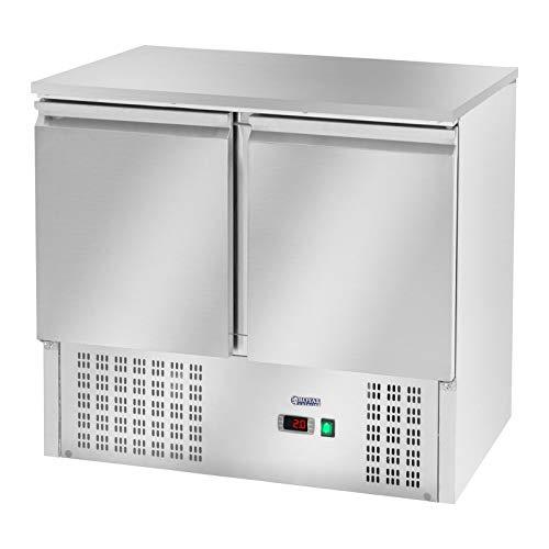 Royal Catering Gastro Kühltisch Arbeitstisch mit Kühlung RCKT-90/70 (240 L, Edelstahl Arbeitsplatte, 207 Kompressor, 2 Kühlfächer, Kältemittel R600a)