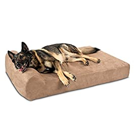 Big Barker 7″ Pillow Top Orthopedic Dog Bed – XL Size – 52 X 36 X 7 – Khaki – For Large and Extra Large Breed Dogs (Headrest Edition)