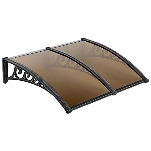 Marquesina para Puertas Ventanas Toldo Sólido Porche Delantero, Sombra Exterior,Techo (75x155cm, Marrón)