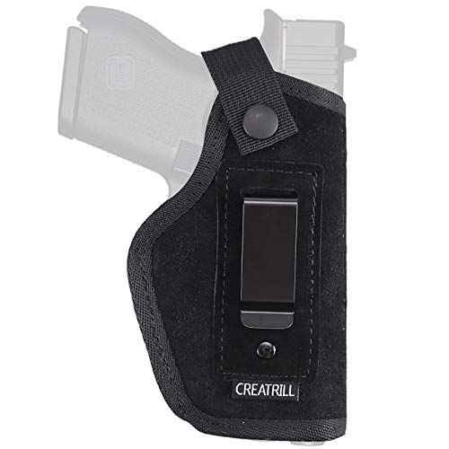 Creatrill Suede Leather Inside The Waistband Holster | Compatible with M&P Shield 9mm40, .45 Auto / Glock 26 27 29 30 33 42 43 / Ruger LC9 / Springfield XD & Similar Pistols