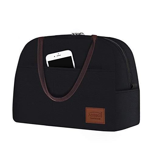 Aosbos Damen Kühltasche Lunchbag kleine Luchbox Isoliertasche Thermotasche für Arbeit Freizeit Picknik 10L Schwarz
