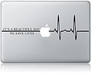Derek Shepherd Quote It's A Beautiful Day To Save Lives Grey's Anatomy Laptop Apple Macbook Vinyl Decal Sticker Apple Mac Air Pro Laptop Sticker