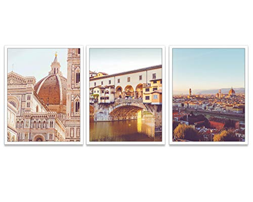 Vintage Florence Italy Photography Prints, Set of 3, Unframed, Duomo, Ponte Vecchio, Firenze Wall Art Decor Poster Sign, 8x10 Inches