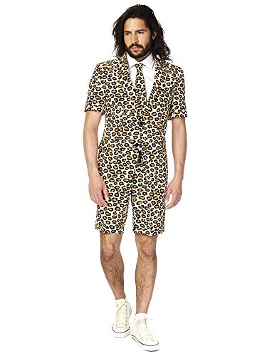 OppoSuits Herren Men Suit Business-Anzug Hosen-Set Inklusive Shorts, Kurzarmjacke & Krawatte, The Jag, 54 EU