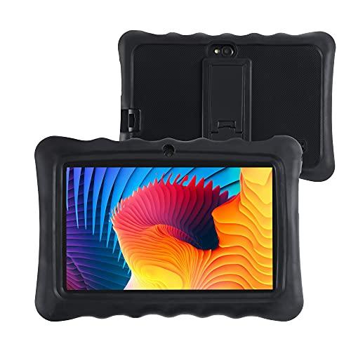 LAMZIEN P2 - Tablet táctil Android 10 con 7 pulgadas, 16 GB, almacenamiento de 128 GB, ampliable, Google Play Quad Core, doble cámara, Wi-Fi, GPS, Bluetooth, USB-C, con funda, color negro