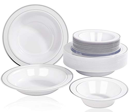 Nervure 50PCS Silver Plastic Bowls Include 25PCS 12oz Silver disposable Bowls & 25PCS 6.5oz Dessert/Salad Bowls - Perfect for Party & Wedding and Holiday Supplies