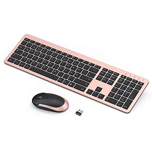 seenda Funktastatur mit Maus, Wiederaufladbare Ultra-Dünne Tastatur Maus Set Kabellos, Ergonomische Tastatur Kabellos mit Silikon Staubschutz für PC/Laptop/Smart TV usw - Rosa Gold