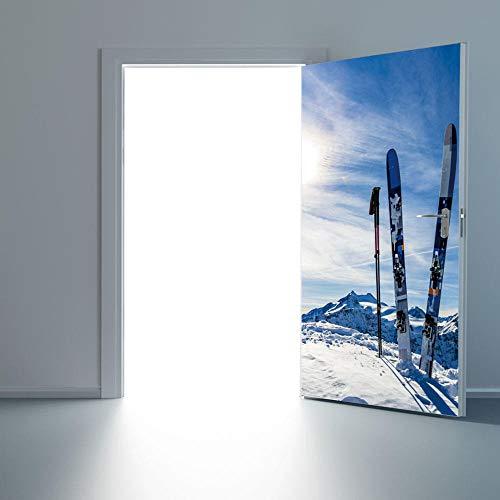 LSDAEER Schnee Berg Snowboard Tür Aufkleber 3D Aufkleber Schlafzimmer Wohnzimmer Holz Tür Dekoration Aufkleber Abnehmbare Wandaufkleber Wand Deko Für Wandsticker Wandtattoo