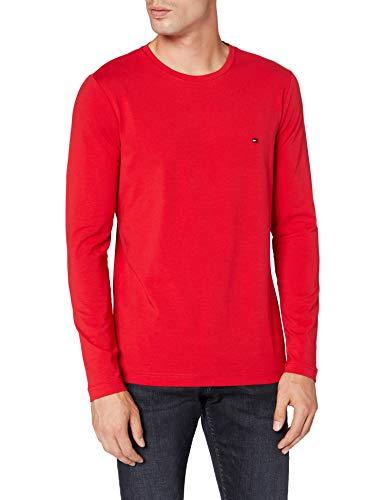 Tommy Hilfiger Herren Stretch Slim Fit Long Sleeve Tee Hemd, Red, X-Large