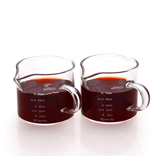 75ML/2.5OZ Double Spouts Measuring Triple Pitcher Milk Cup Espresso Shot Glasses Parts Glass