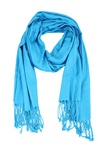 Paskmlna Large Solid Color Pashmina Shawl Wrap Scarf 80 X 27 (#11 Turquoise blue)