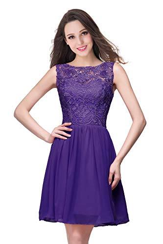 MisShow Damen Spitze Hochzeitskleid Standesamt Kleid Brautkleid Rückenfrei Kurz Lila 36