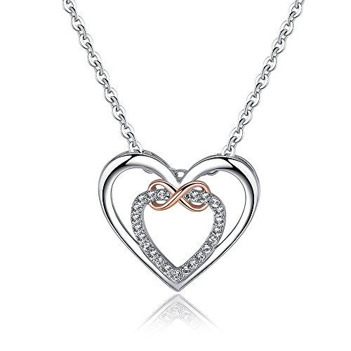 Canarea Chain Dameshalsketting met hanger, 925 sterling zilver, met zirkonia, dubbele hartjes, infinity-symbool, hypoallergeen A short Moederdag Y-Shaped Necklace