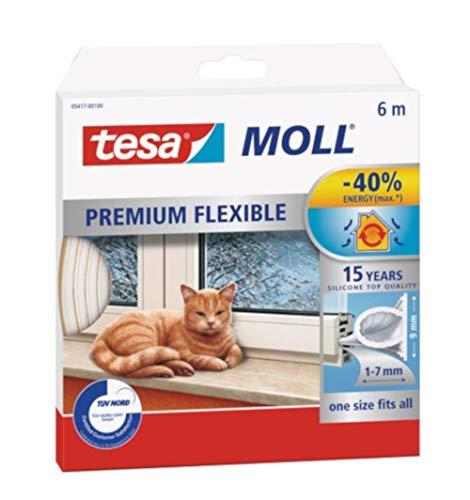 tesamoll premium flexibles Dichtungsband/Für Tür- und Fensterspalten/Gegen kalte Zugluft, Lärm und Staub/Selbstklebend, wasserundurchlässig/Für Spaltenbreiten von 1-7mm Weiß (1 Packung)