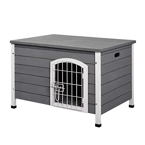 Pawhut Hundehütte Hundehaus mit Tür Hundebox Gitterbox TransportKäfig für Katzen Hasen Grau Tanne 80x55x53,5 cm
