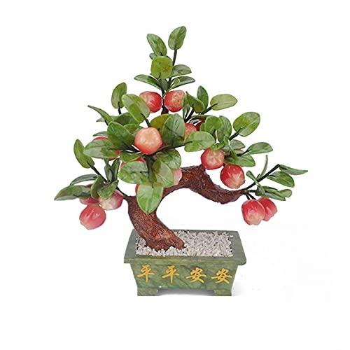 Decoración de plantas falsas Jade Bonsai Apple Tree Jade Bonsai Decorativo Bonsai Escritorio Exhibición Pot Ornamentos para el hogar Tienda Oficina Zen Decoración Decoración Árbol Bonsai Artificial