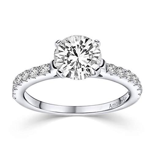 Verlobungsring Ring Damen Silber 925 von AMOONIC Zirkonia Stein mit GRAVUR & ETUI-BOX Silberring Frau Verlobungsringe Damenring rhodiniert Echt Schmuck Antragsring AM289 SS925ZIFAZIFA54