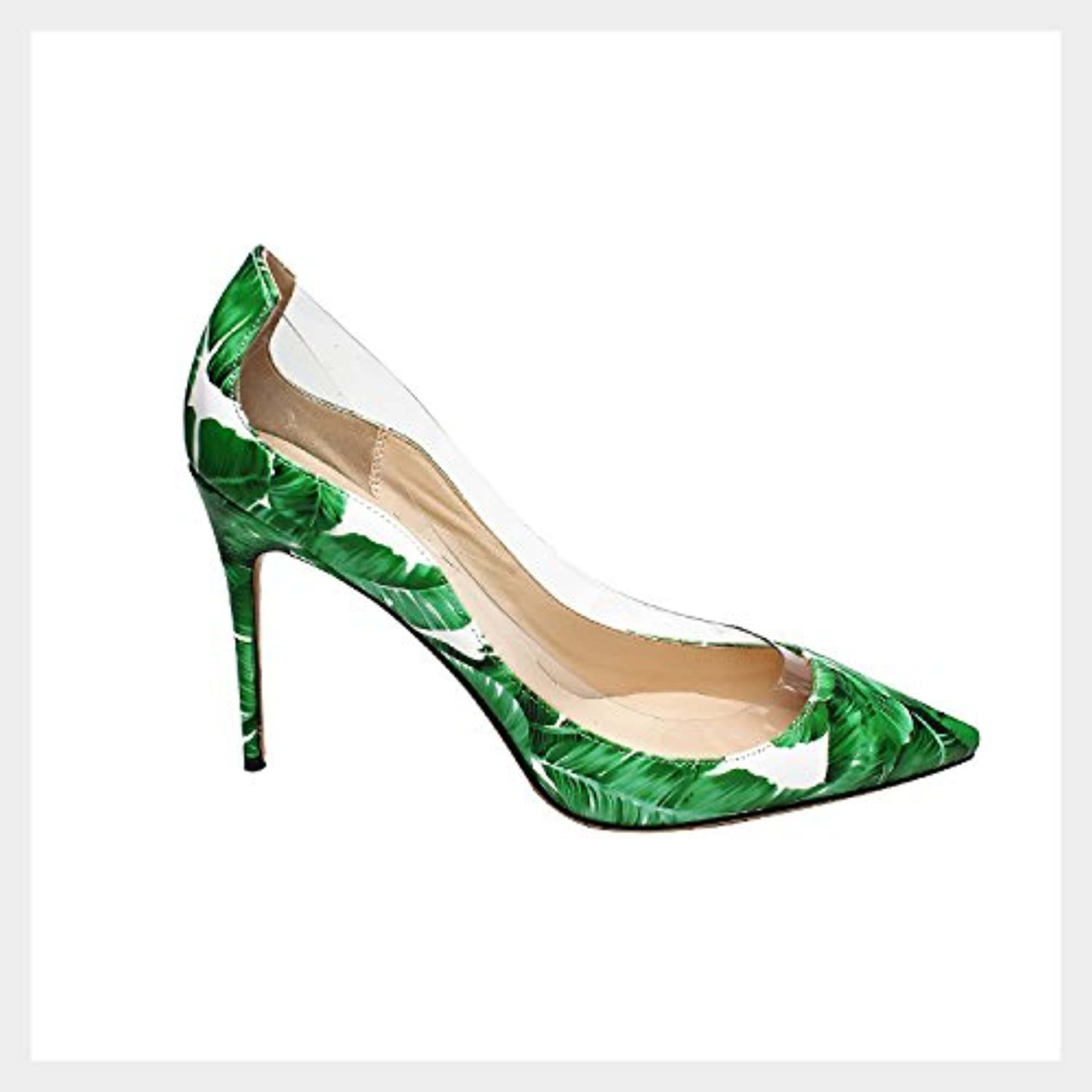 QianZuLian Women Pointed Transparent PVC Patent Leather Sexy 10 cm Stiletto shoes Pumps