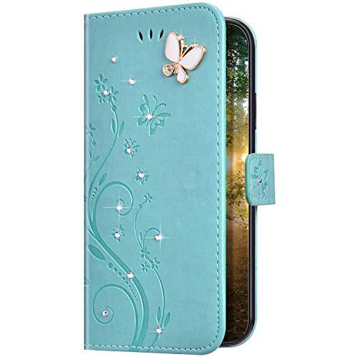 Uposao Kompatibel mit iPhone 11 Pro Hülle Glitzer Bling Strass Diamant Schmetterling Handyhülle Brieftasche Schutzhülle Leder Tasche Wallet Flip Case Cover Klapphülle Kartenfach,Grün
