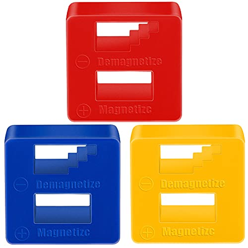 3 Pieces Demagnetizer Magnetizer, Blue Red Blue, Precision Demagnetizer Magnetizer for Screwdriver, Small Tools, Small, Big Screws, Drills, Drill Bits, Sockets, Nuts, Bolts, Nails, Construction Tools