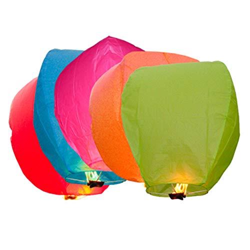 Lot de 50 Lot de ciel lanterne, ballon à air chaud, nuit de Noël, Halloween, Mariage et cérémonie Wish Lanterne avec ignifuge – 100% biodgradable Papier Chinois Lanternes