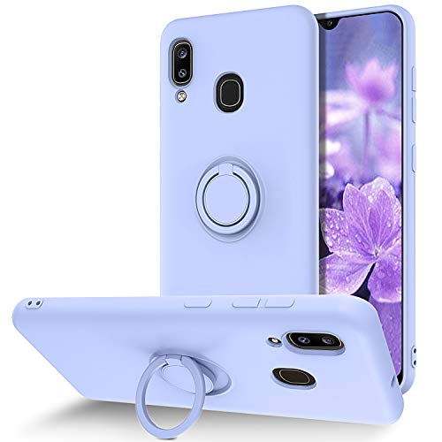 BENTOBEN Samsung Galaxy A20 / A30 Case, Slim Silicone Soft Rubber with 360° Ring Holder Kickstand Car Mount Supported Shockproof Bumper Protective Cases for Samsung Galaxy A20 / A30, Purple/Lavender