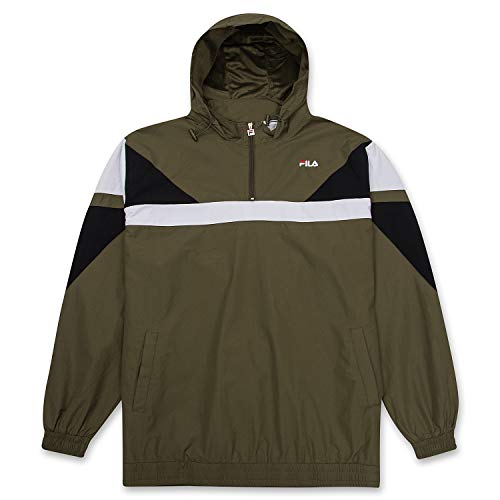 Fila Mens Big and Tall Pullover Hoodie Lightweight 1/4 Zip Anorak Windbreaker BLK/WHT/Olive 4XLT