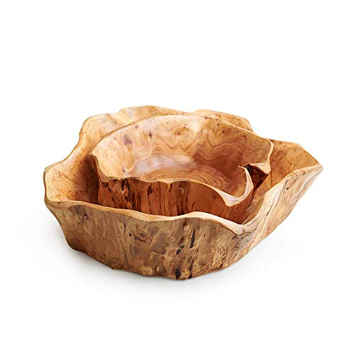 YVX 1Pc Creative Wooden Crafts Bowl Dried Fruit Plate Multi-Grain Candy Dish Grid Food Serving Bowls Wood Root Carving Tray Snacks Nuts Storage Tray Mixing Bowl Kitchen Organizer Random Style (3
