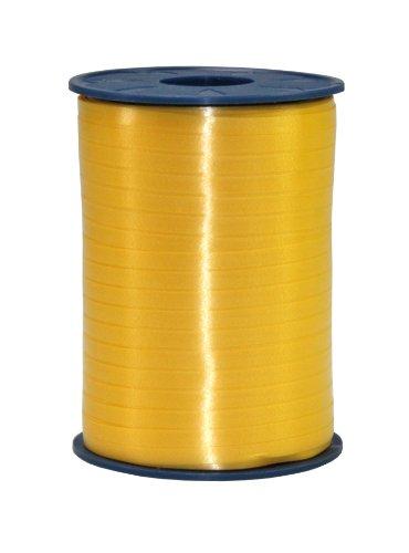 C.E. PATTBERG Geschenkband gelb,  500 Meter Ringelband 5 mm zum Basteln,  Dekorieren & Verpacken von Geschenken  zu jedem Anlass