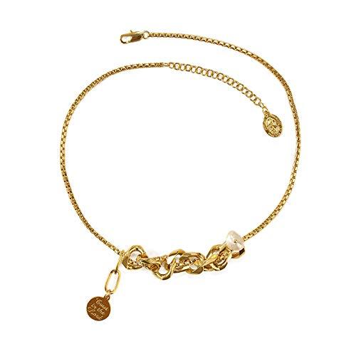 CVBGH Latón + Perla Real Chapado Al Vacío Oro Real Perla Real Natural Personalidad Hip-Hop Moda Cadena De Clavícula Collar De Mujer