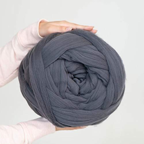 Giant Wool Yarn Chunky Merino Arm Knitting Super Soft Wool Yarn Bulky Wool Roving Dark Grey 8 lbs