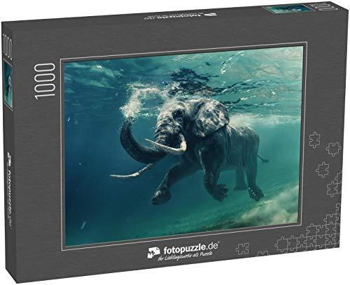 fotopuzzle.de Puzzle 1000 Teile Schwimmender Elefant unter Wasser. Afrikanischer Elefant im Ozean mit Spiegeln und Wellen an der Wasseroberfläche (1000, 200 oder 2000 Teile)