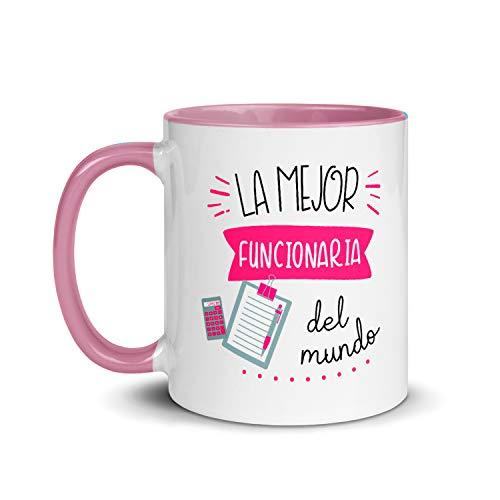 Kembilove Taza de Desayuno de la Mejor Funcionaria del Mundo – Tazas de Café de Profesiones y Trabajadores para la Oficina – Tazas de Té de Color para Profesionales – Taza de Cerámica de 350 Ml