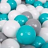 KiddyMoon 100 ∅ 7Cm Balles Colorées Plastique pour Piscine Enfant Bébé Fabriqué en EU, Gris/Blanc/Turquoise