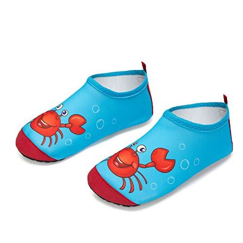 Kinder Badeschuhe Wasserschuhe Strandschuhe Mädchen Junge Schwimmschuhe Barfußschuhe rutschfeste Surfschuhe Sportschuhe Kleinkind Schwimmbad(Red.Krabbe,28/29 EU)