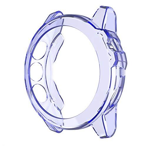 Cubierta de la Caja de la Caja de Reloj de Alta definición para el Protector de Pantalla Garmin Fenix 5X para 5X más TPU Transparente, Liqingshangmao (Color : Transparent Blue)